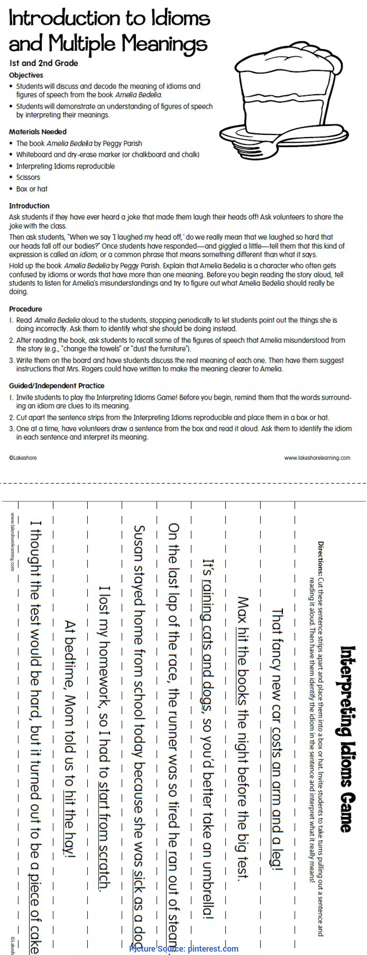 Best English Lesson Plan 2Nd Grade Lakeshore Dream Classroom Introduction To Idioms Lesson Plan Fro