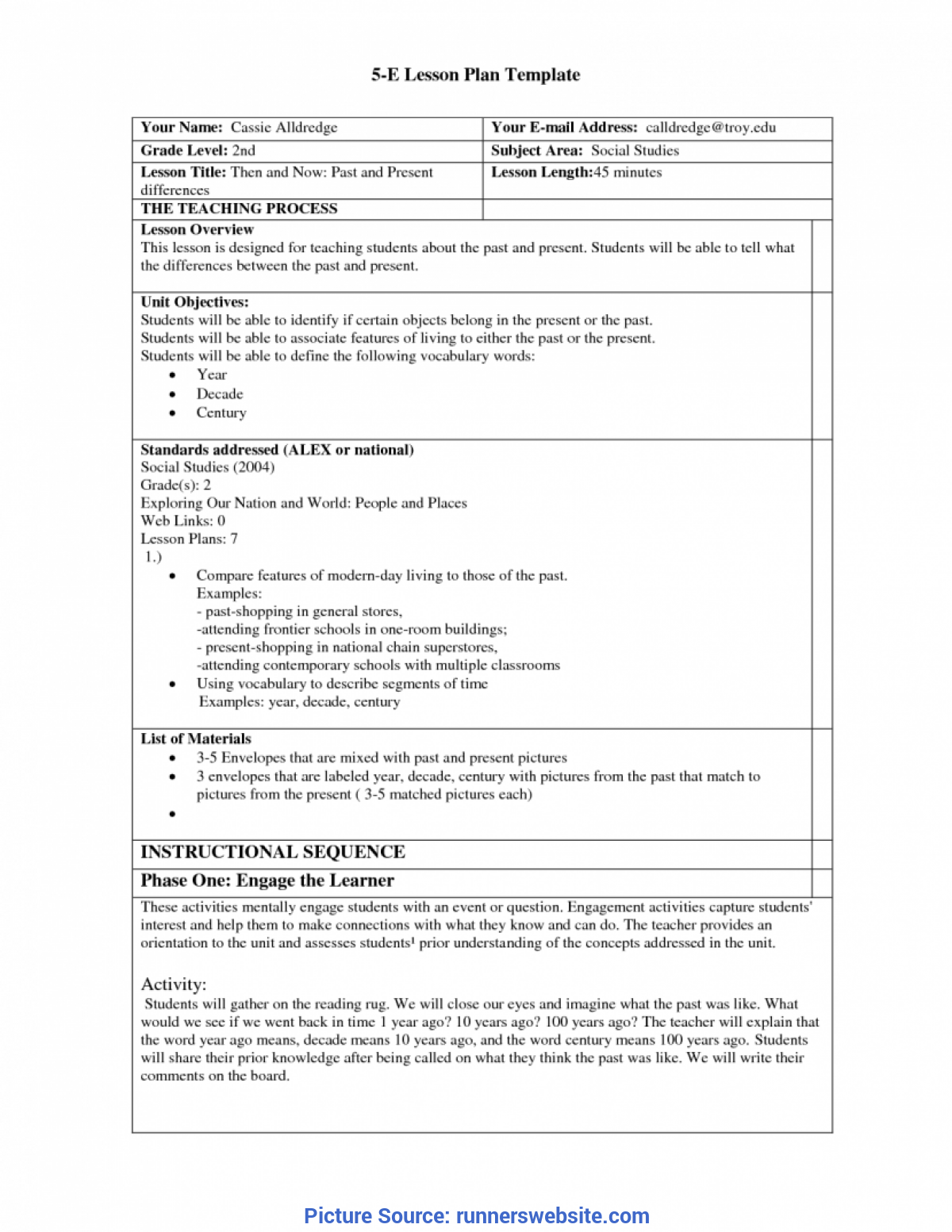 Best Model Lesson Plan For Science 5E Lesson Plan Template 7 Best