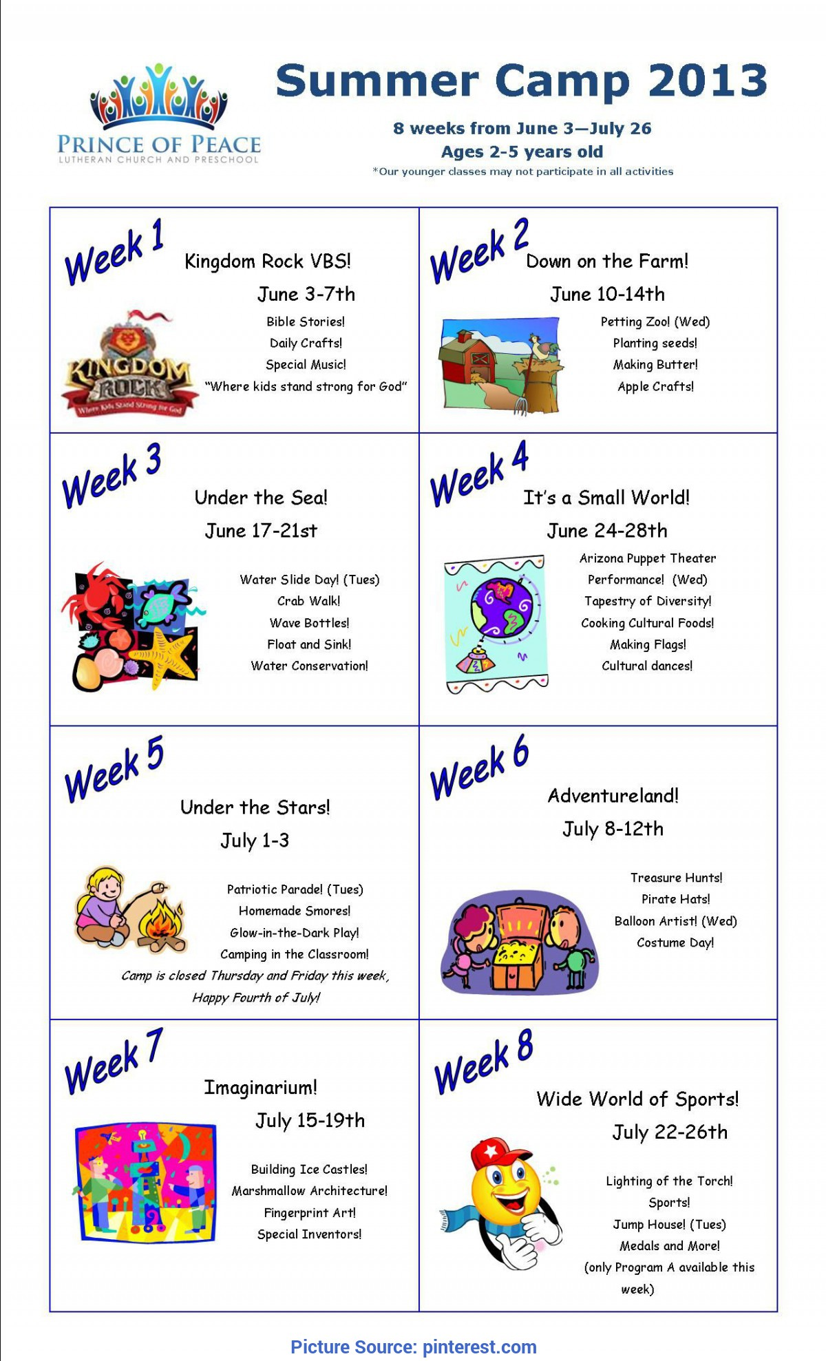 Briliant Preschool Weekly Themes For The Year Summer Camp Calendar 2013 - I Love This Idea To Devote A Week T
