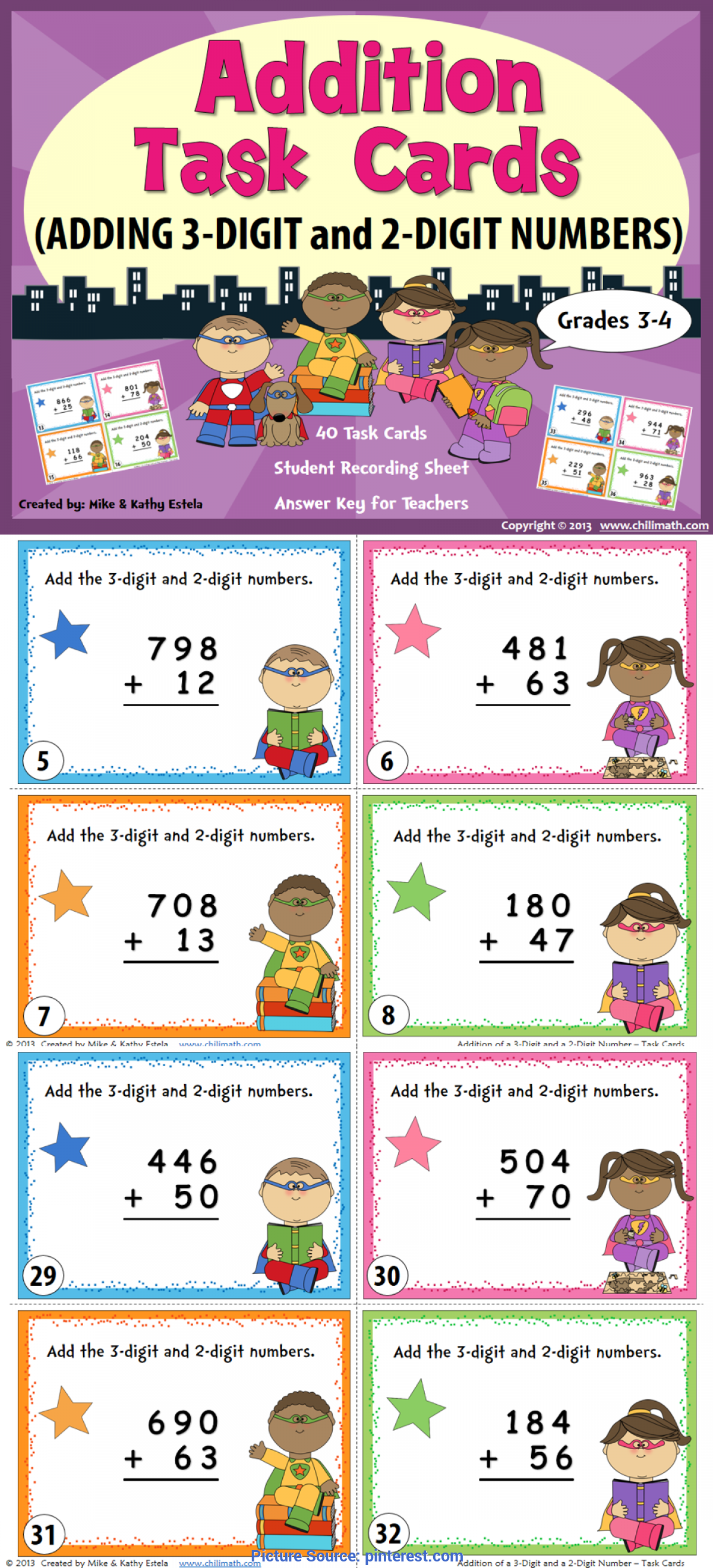 Complex Addition Lesson Plan For Grade 2 Addition Task Cards | Number, Math And Elementary