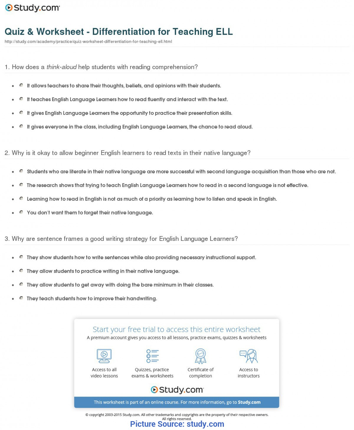 Complex Reading Lesson Plans For Intermediate Esl Students Quiz & Worksheet - Differentiation For Teaching Ell | Study