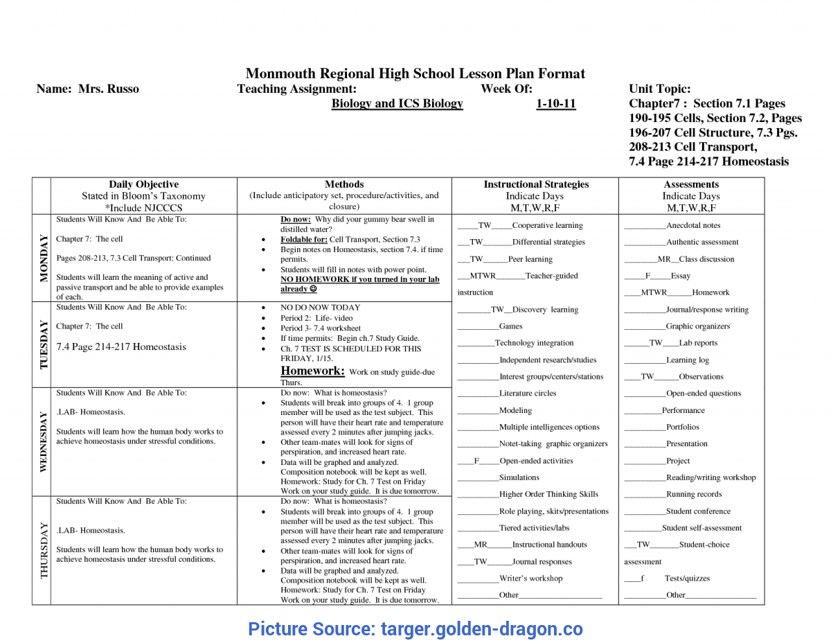 Complex Sample Lesson Plan For High School Biology Lesson Plan Templates High School - Targer.Golden-Drago