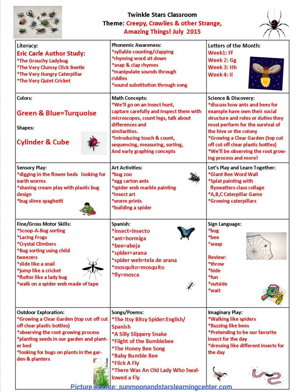 Complex Space Lesson Plans Twinkle Stars July 2015 Lesson Plan « Sun Moon & Stars Learnin
