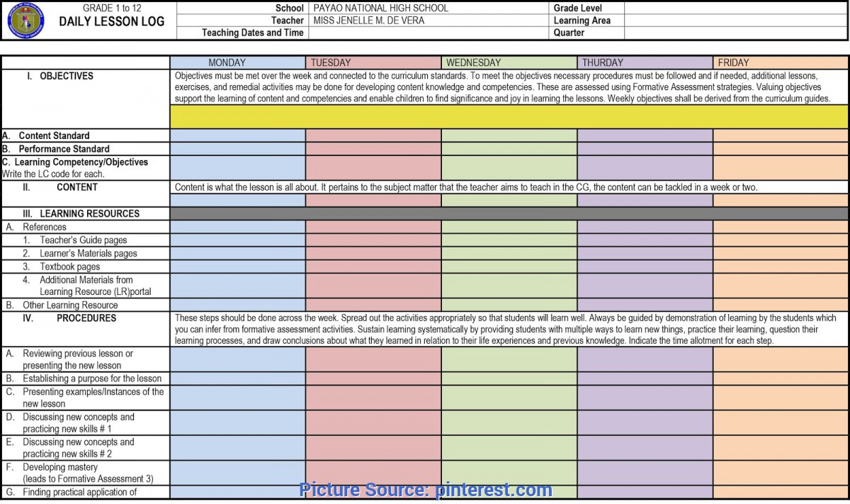 Excellent Daily Lesson Log For Grade 5 Facebook'S New Short Posting Format Allows 130 Character