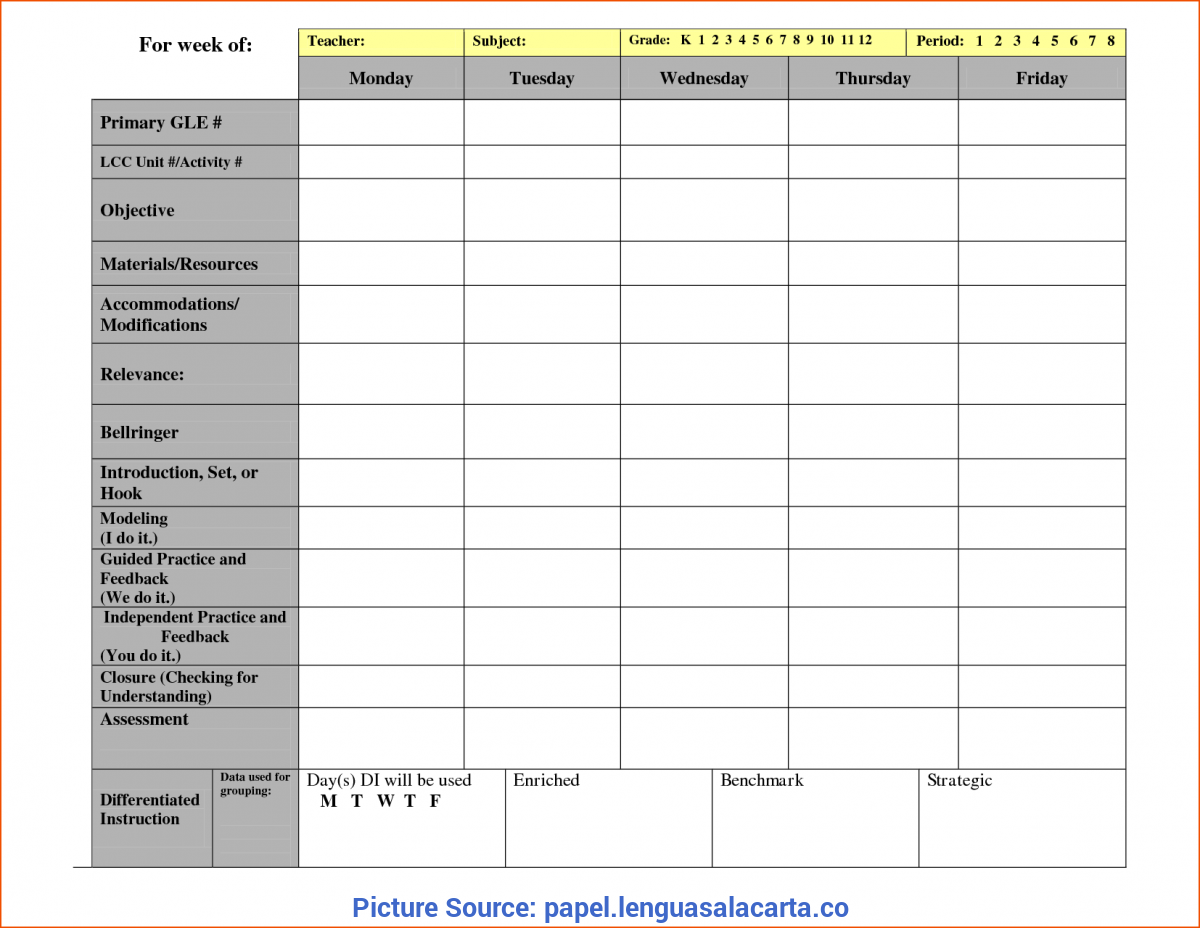 Excellent Lesson Plan Template 7 Periods Weekly Lesson Plan Format - Papel.Lenguasalacart