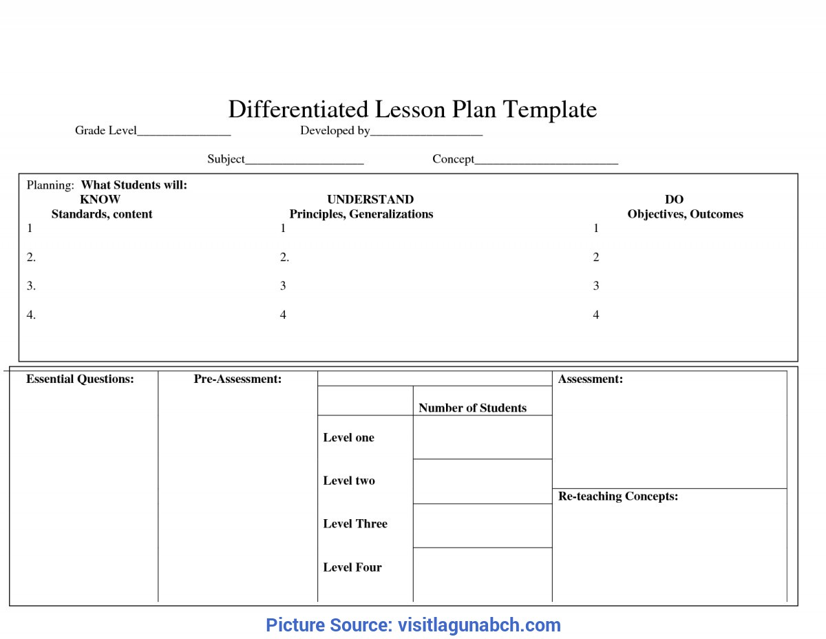 Fresh Blank Differentiated Lesson Plan Template Tiered Lesson Plan Template | Best Template & Design Im