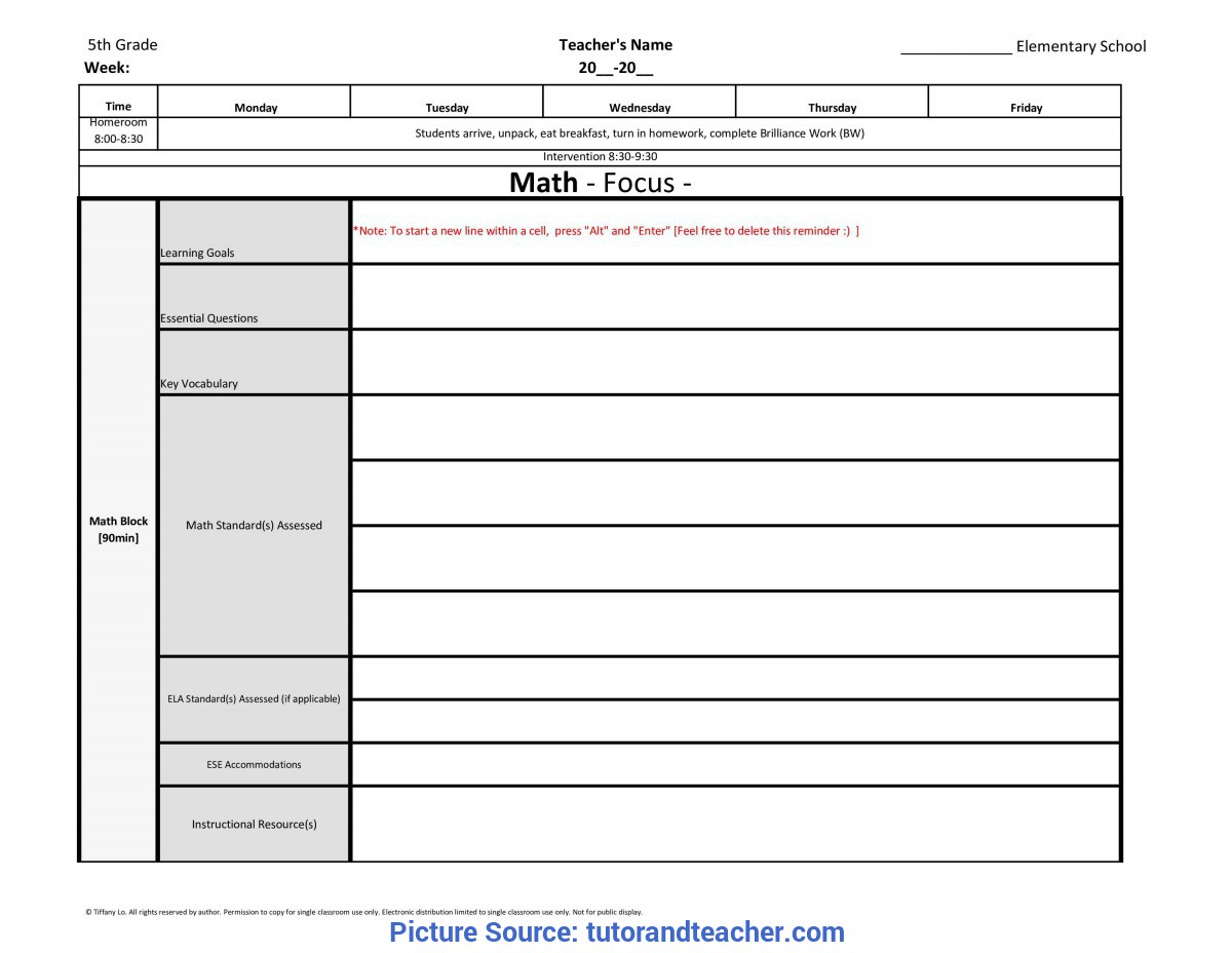 Fresh Lesson Plan Template 5Th Grade 5Th Fifth Grade Weekly Lesson Plan Template W/ Florida Standard