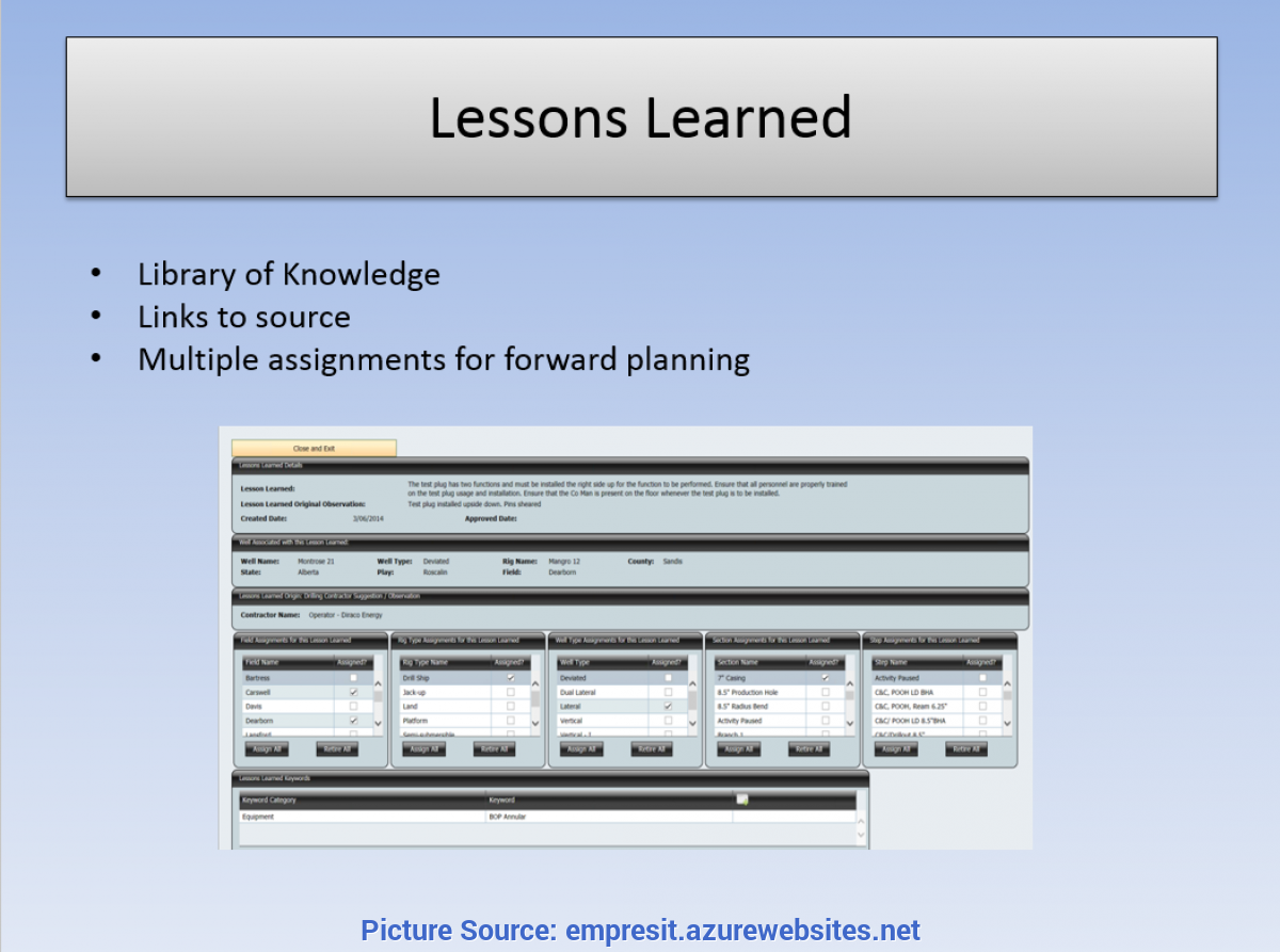 Fresh Lessons Learned Knowledge Base Lessons Learned | Upstream Optimizer | Knowledge