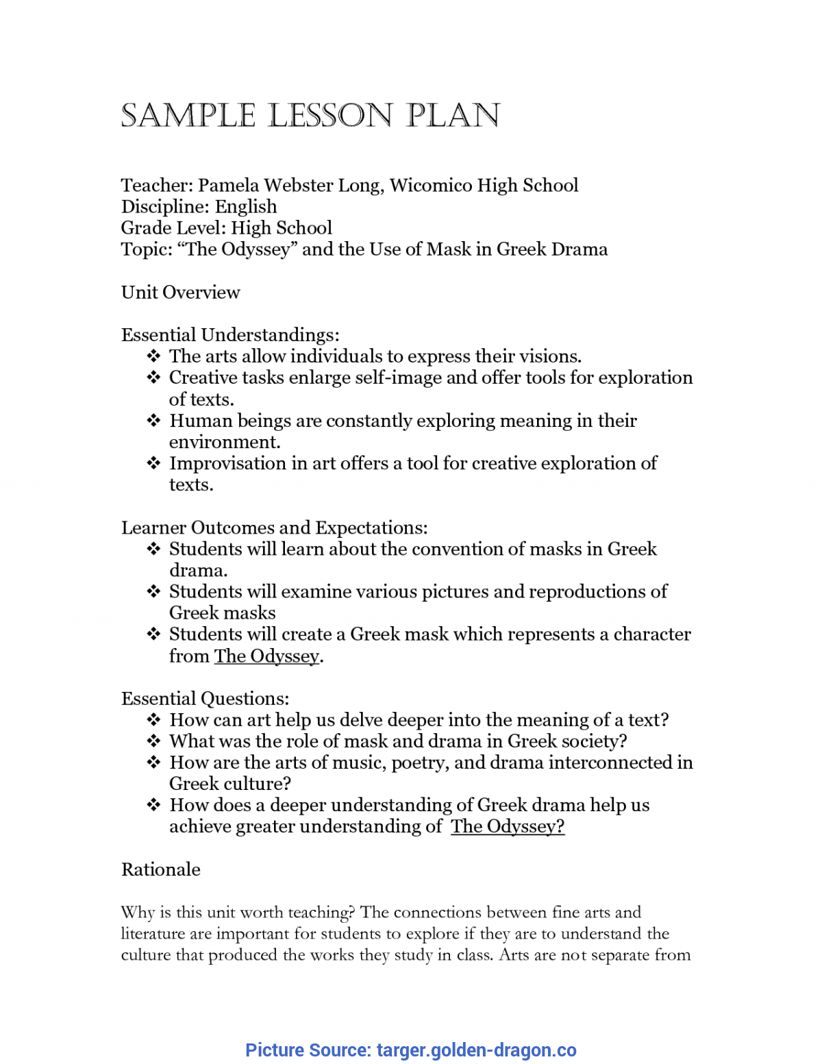 Fresh Sample Lesson Plan In English For High School Middle School Lesson Plan Template - Targer.Golden-Drago