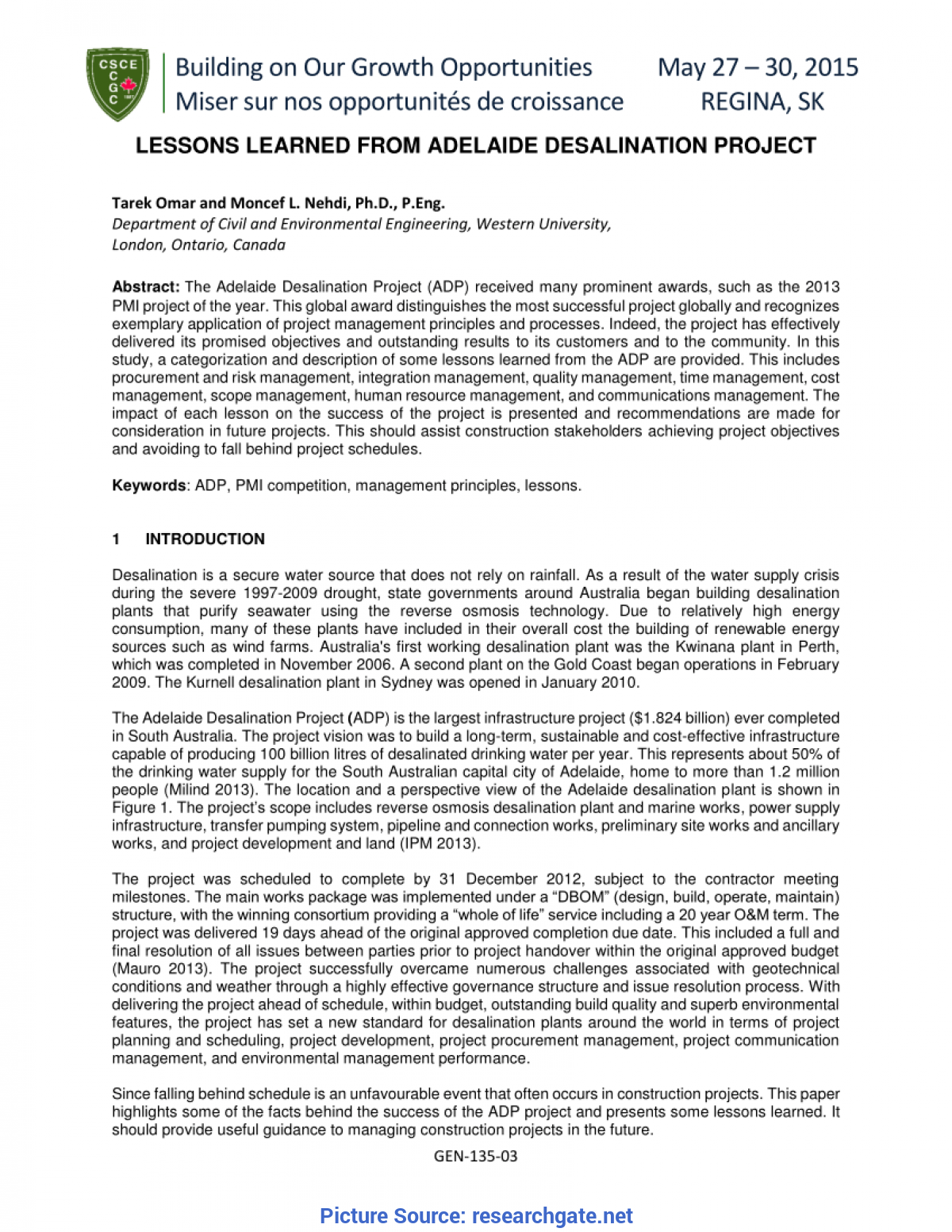 Good Lessons Learned In Construction Project Management Lessons Learned From Adelaide Desalination Project (Pdf Downloa