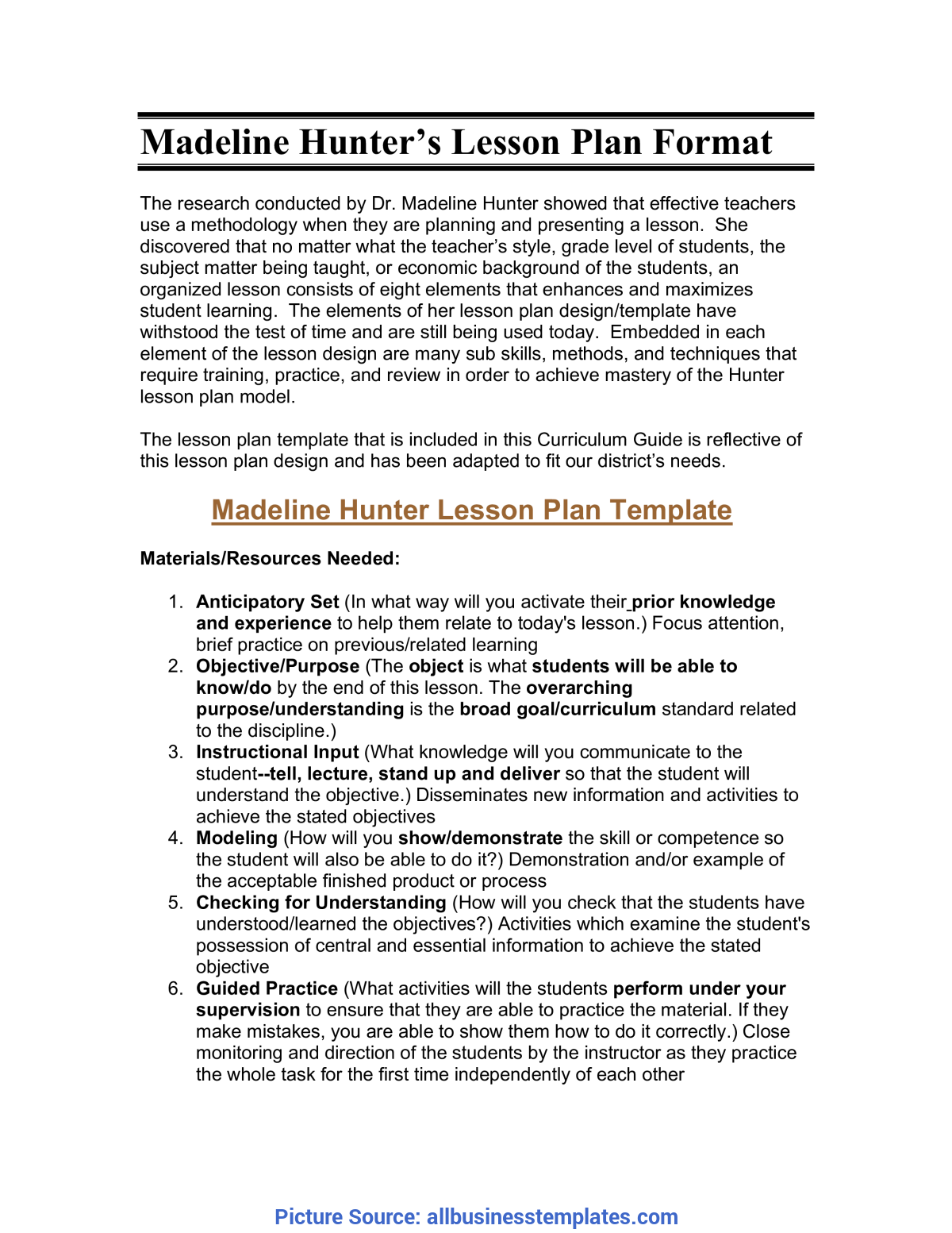 Good Madeline Hunter Lesson Plan Template Word Free Microsoft Word - Madeline Hunter'S Lesson Plan Forma
