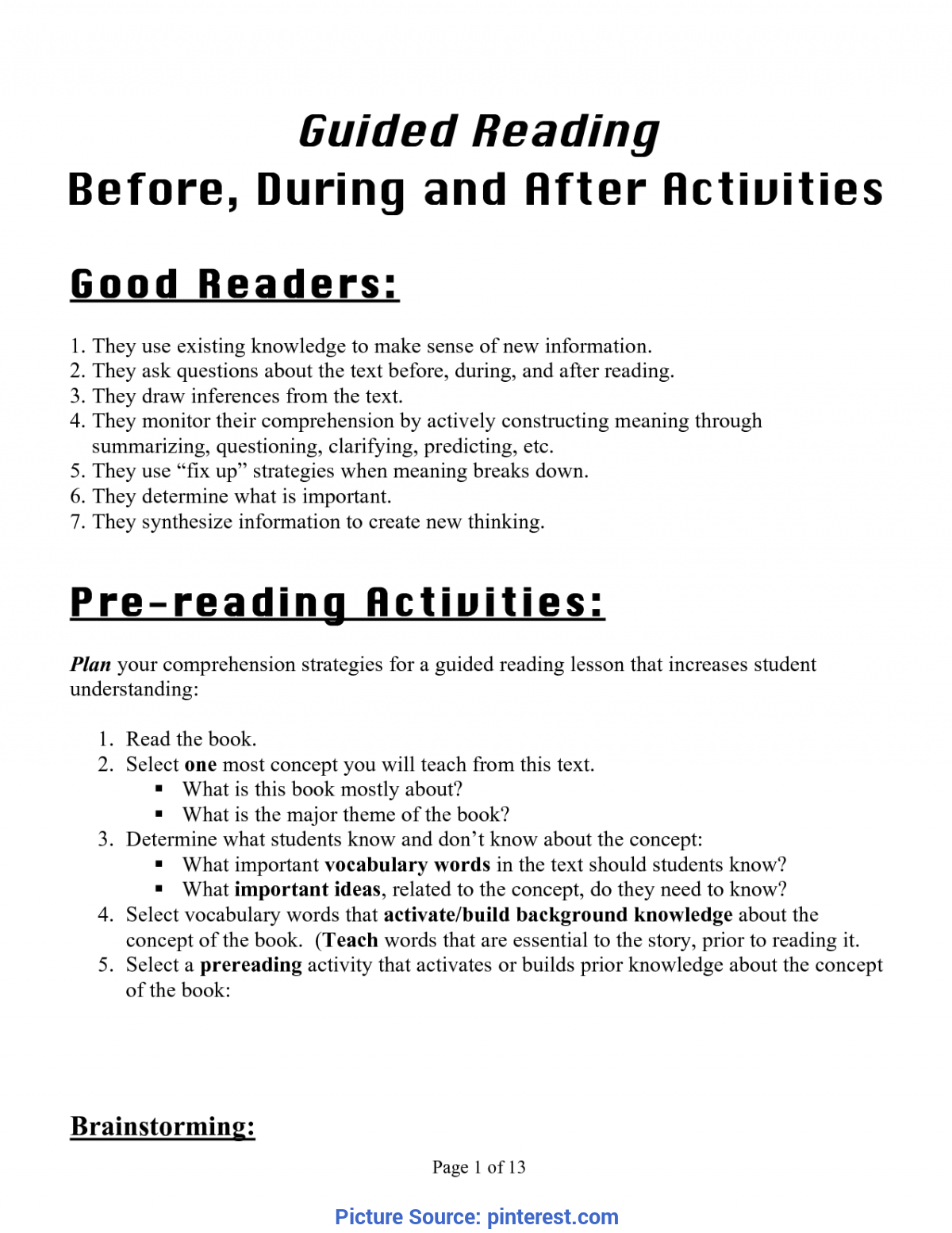 Good Reading Lesson Plan On Prediction Use Guided Reading Strategies To Teach Making Predicitions. Thi