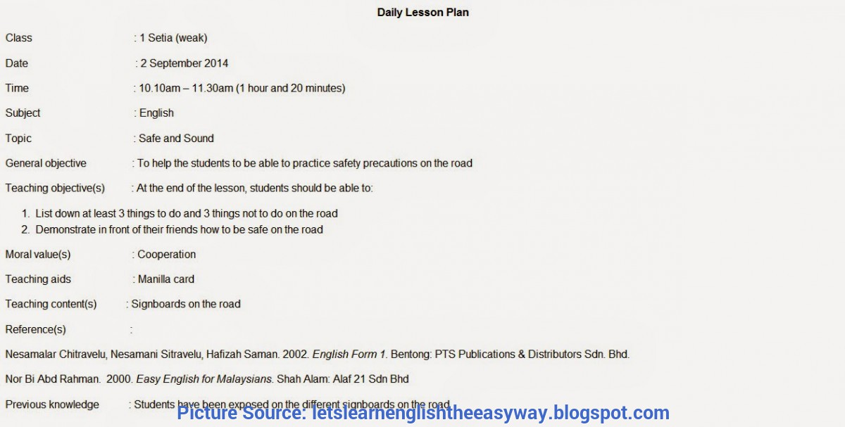 Great Daily Lesson Plan Form 1 Let'S Learn English The Easy Way: Lesson Plan - Unit 6 (Safe An