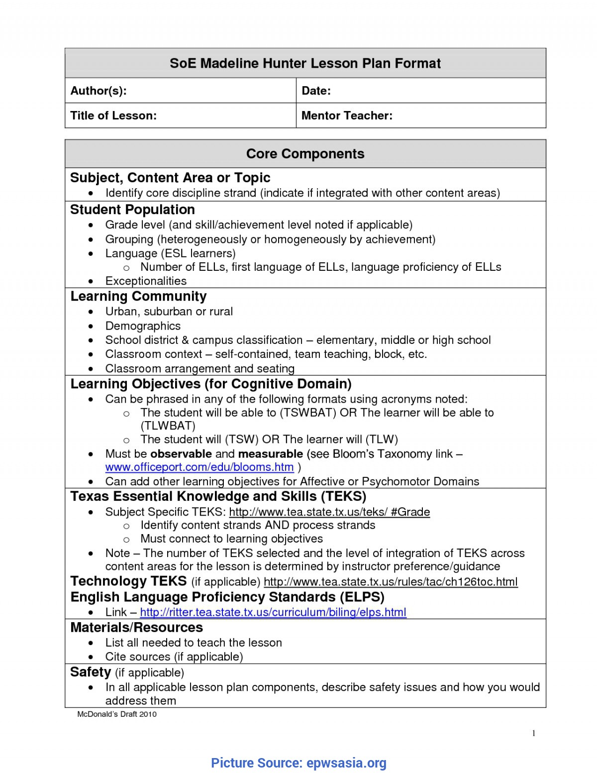 Great Free Downloadable Madeline Hunter Lesson Plan Template Madeline Hunter Lesson Plan Template | Best Business Templat