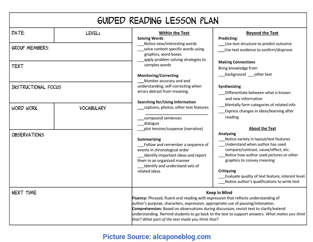 Great How To Make A Weekly Lesson Plan Guided Reading Lesson Plan Template Kindergarten | Printabl