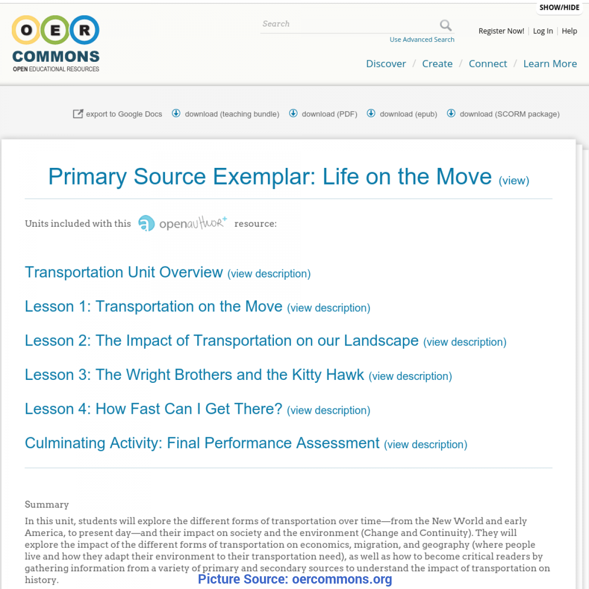 Great Lesson Exemplar In Science Primary Source Exemplar: Life On The Move | Transportation Uni