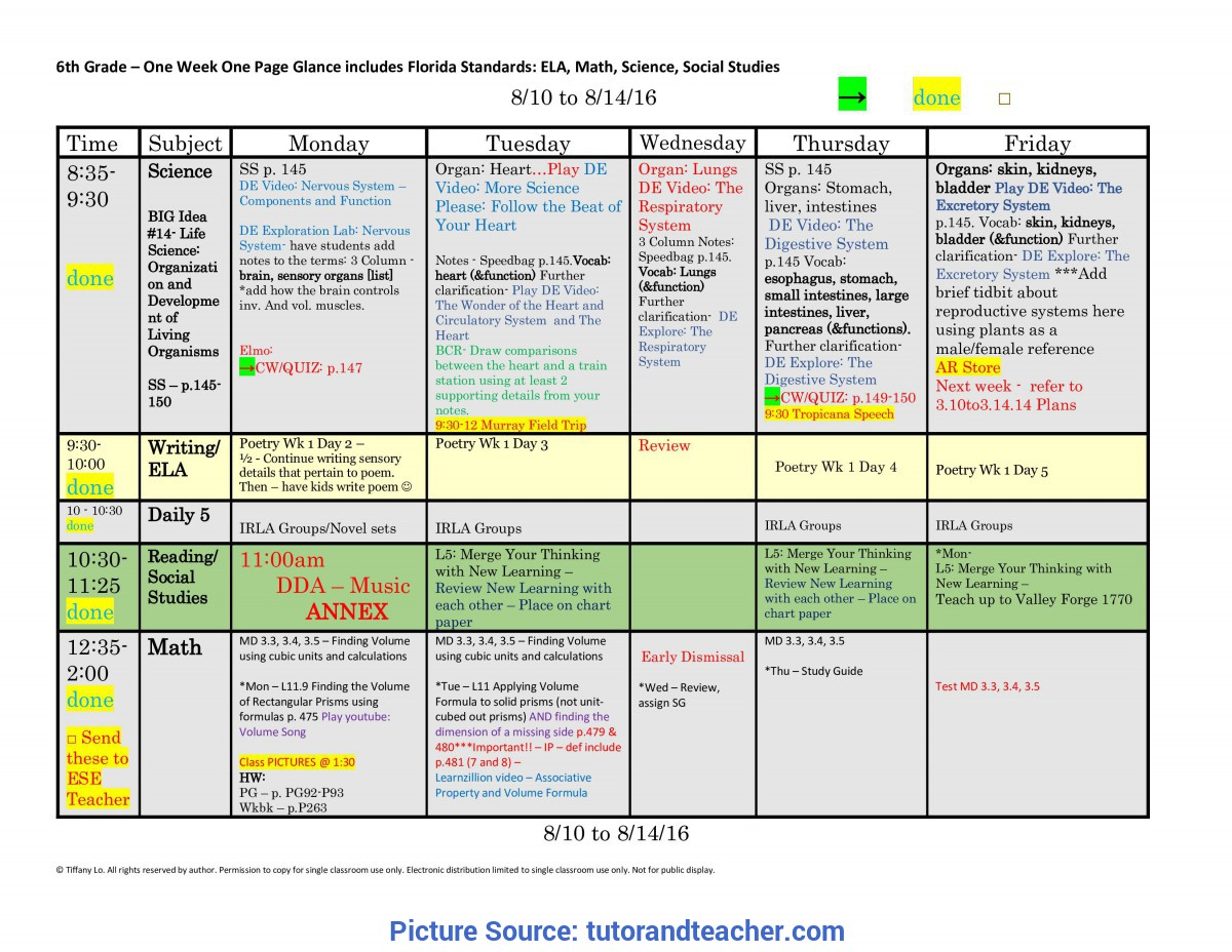 Great Lesson Plan Template 6Th Grade 6Th Sixth Grade Florida Standards Weekly Lesson Plan Template: