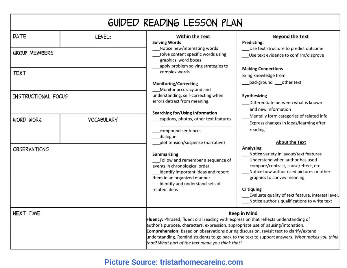 Great Literacy Lesson Plan Examples Guided Reading Lesson Plan Template | Tristarhomecar
