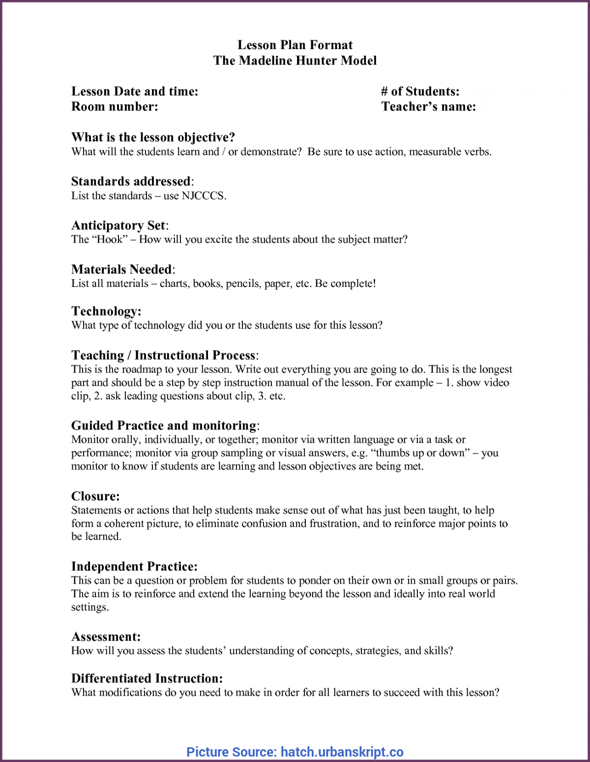 Great Madeline Hunter Lesson Plan Doc Template