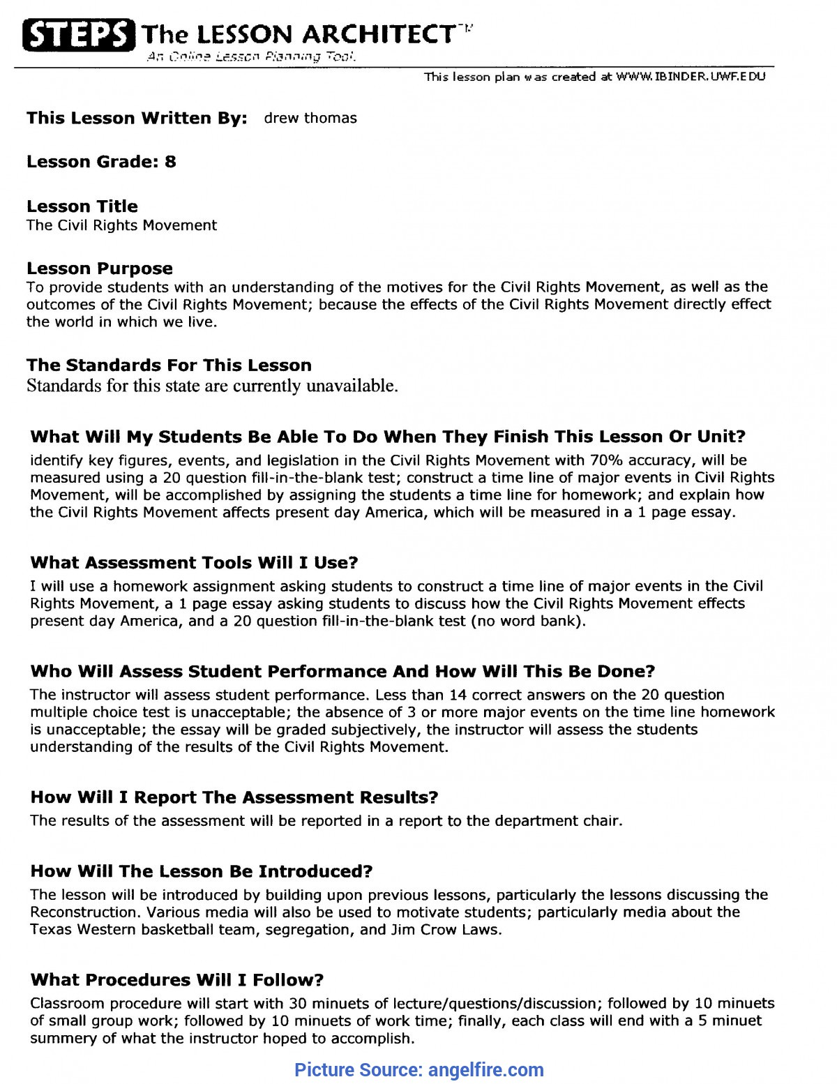 Interesting Lesson Plan Example Elementary School My Experience As A Lea