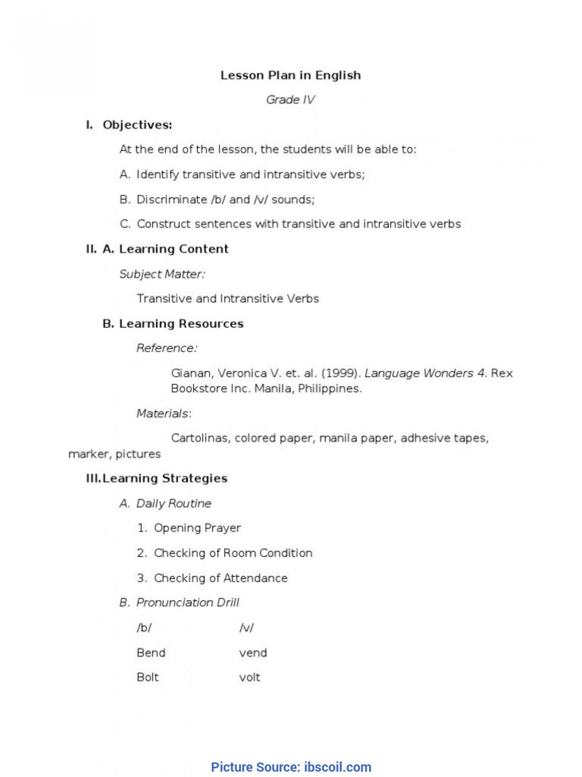 Interesting Verb Lesson Plan Sample Of Brief Lesson Plan Example Semi Detailed For Kindergarte