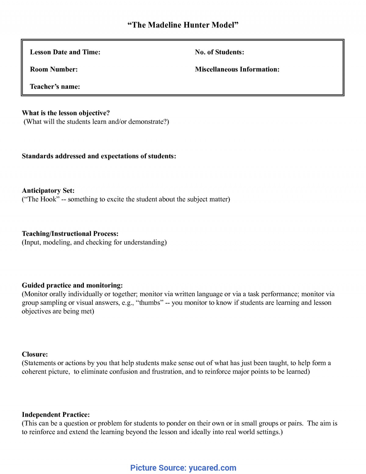 Interesting Written Lesson Plan Example Madeline Hunter Lesson Plan Template Word | Business Temp