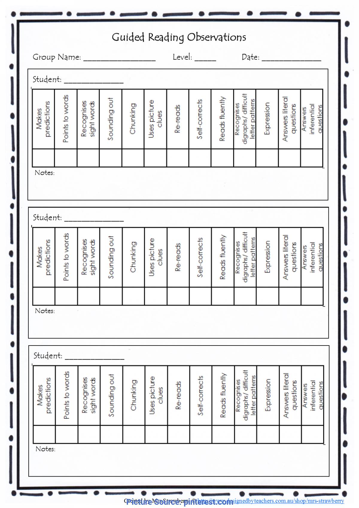 Newest Guided Reading Observation Checklist Guided Reading Observations Checklist Copy This Page Back An
