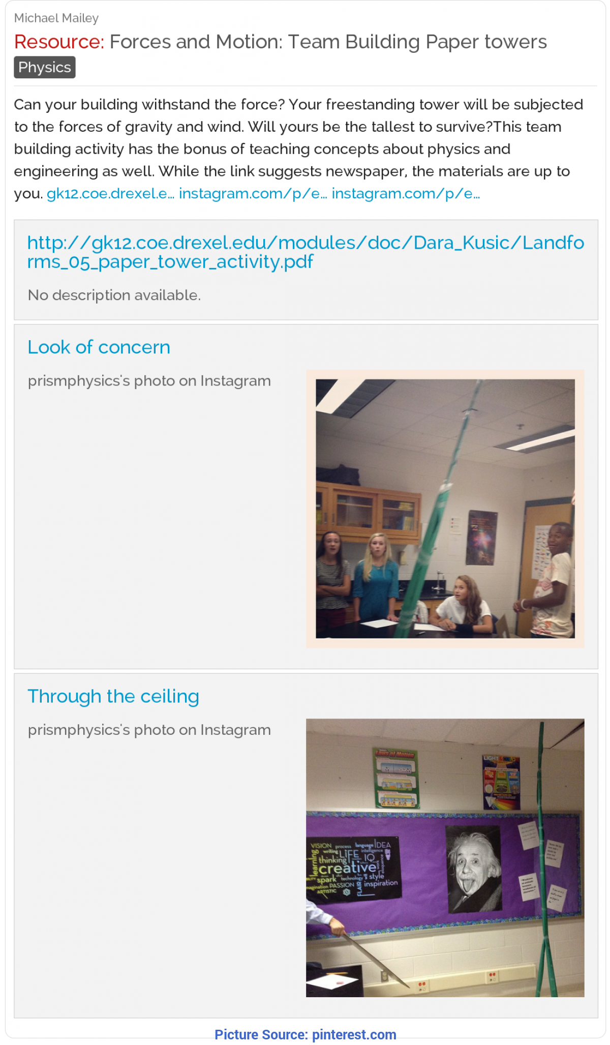 Newest High School Physics Lesson Plans Forces And Motion: Build Paper Towers In Teams. Can Your Towe
