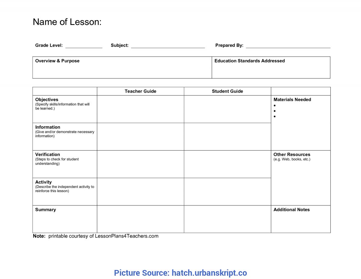 excellent blank daily lesson plan template high school teacher plan