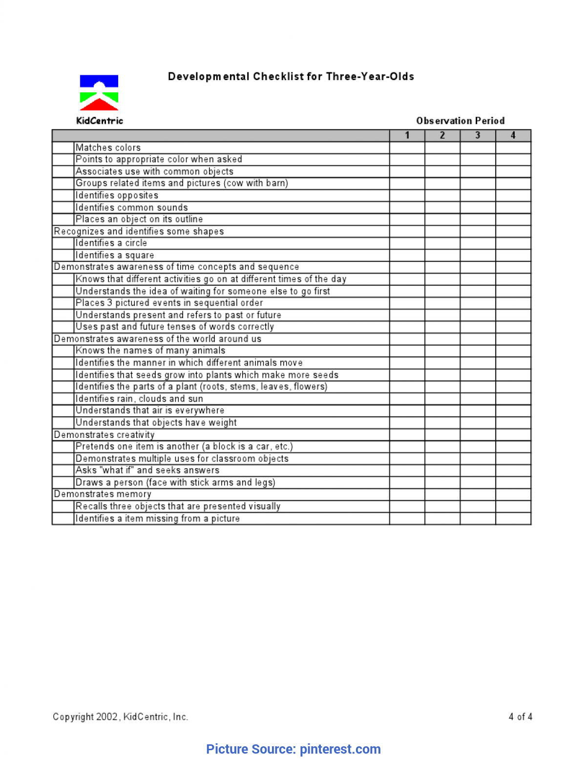 Regular 4 Year Old School Curriculum Assessment 3 Year Old Page 4 Of 4 | Assessment Ideas | Pinteres