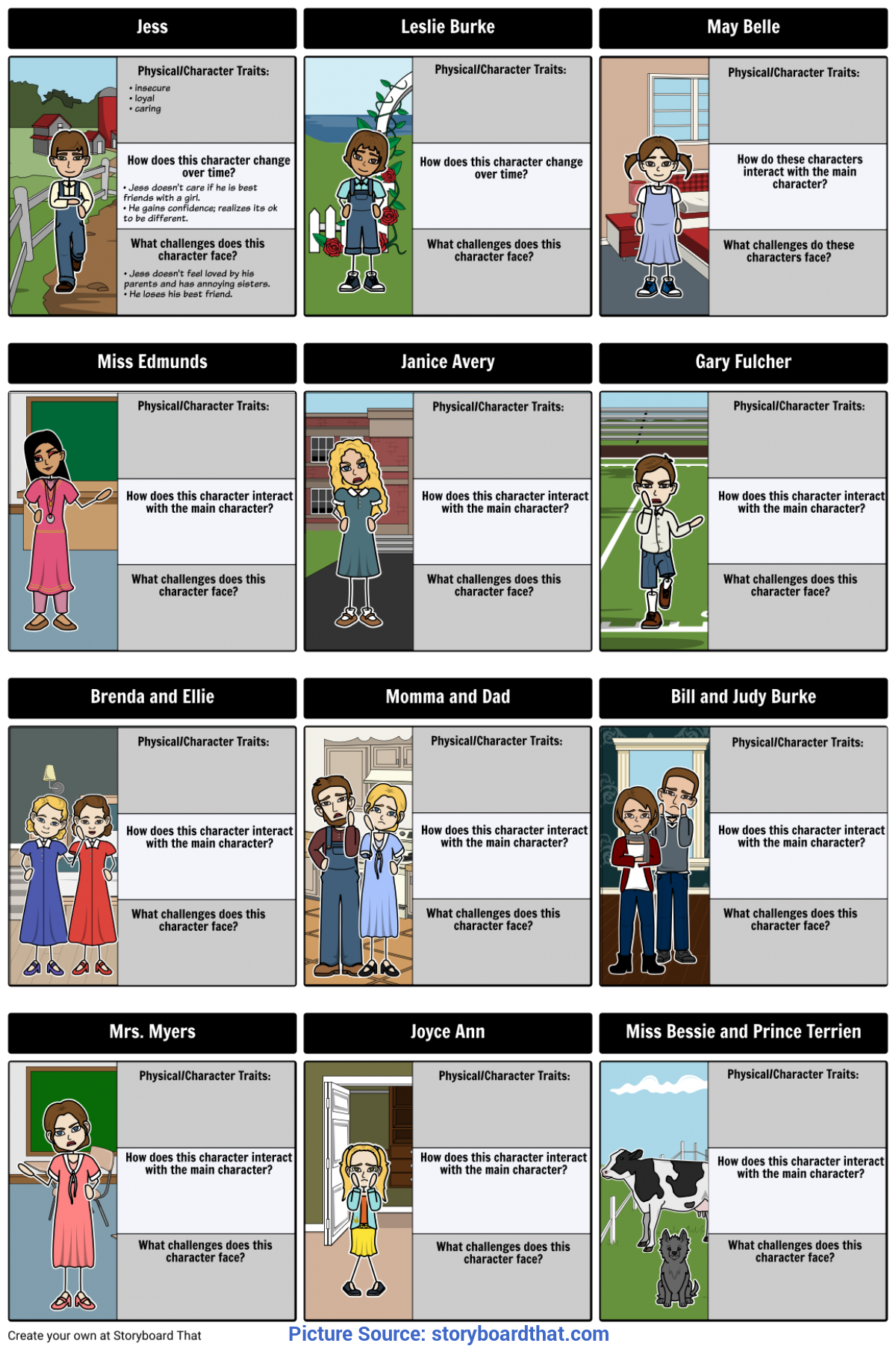Regular Bridge To Terabithia Lesson Plans Bridge To Terabithia - Character Map Storyb