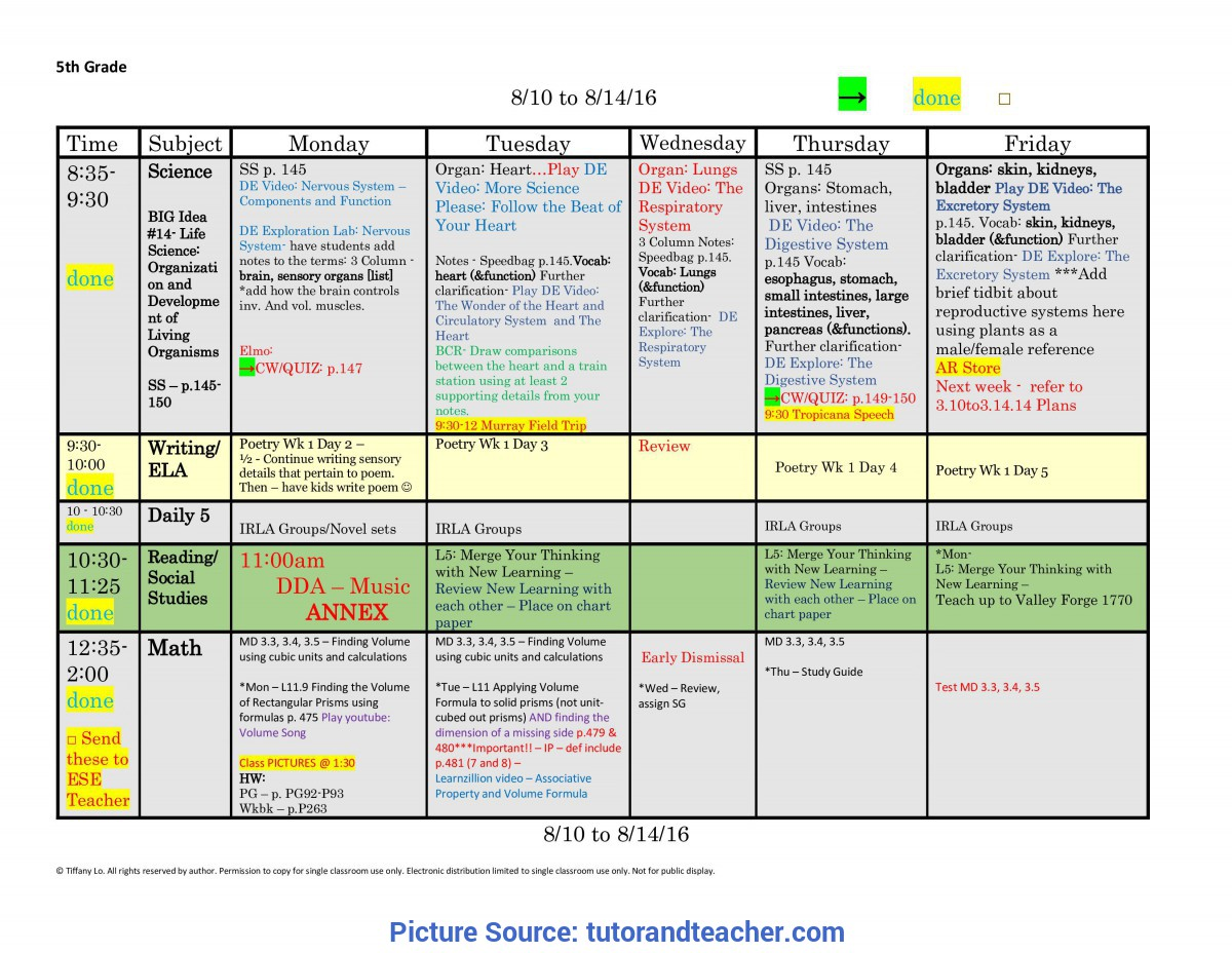Regular Fifth Grade Lesson Plans 5Th Fifth Grade Lesson Plan Template: One Week, One Page Glance O