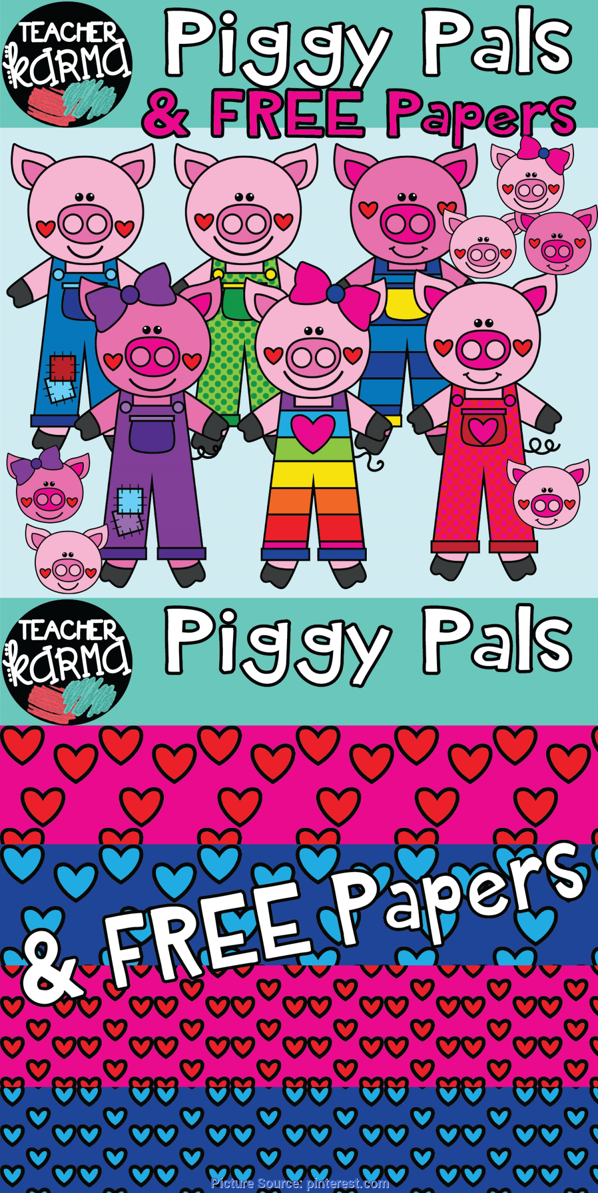 Regular Free Classroom Resources For Teachers Piggy Pals: Pig Clipart With Free Digital Papers | Classroo