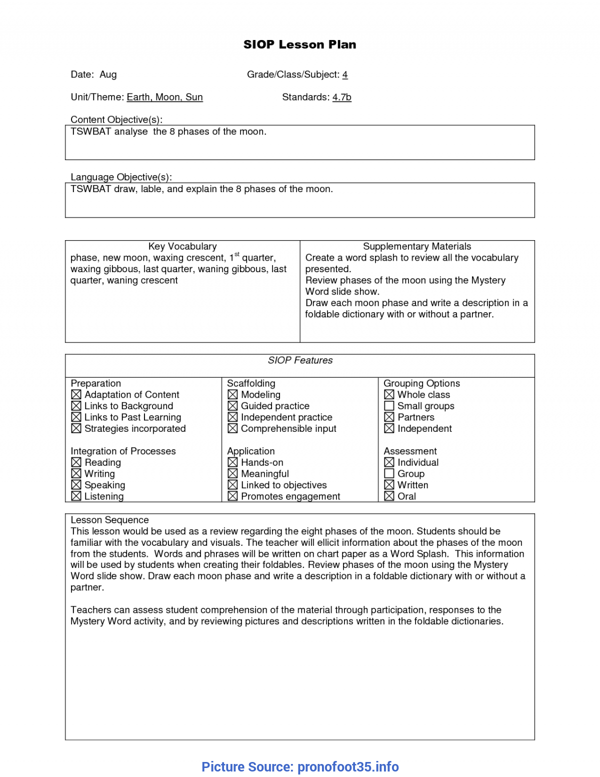 Regular Free Siop Lesson Plan Template 1 Siop Lesson Plan