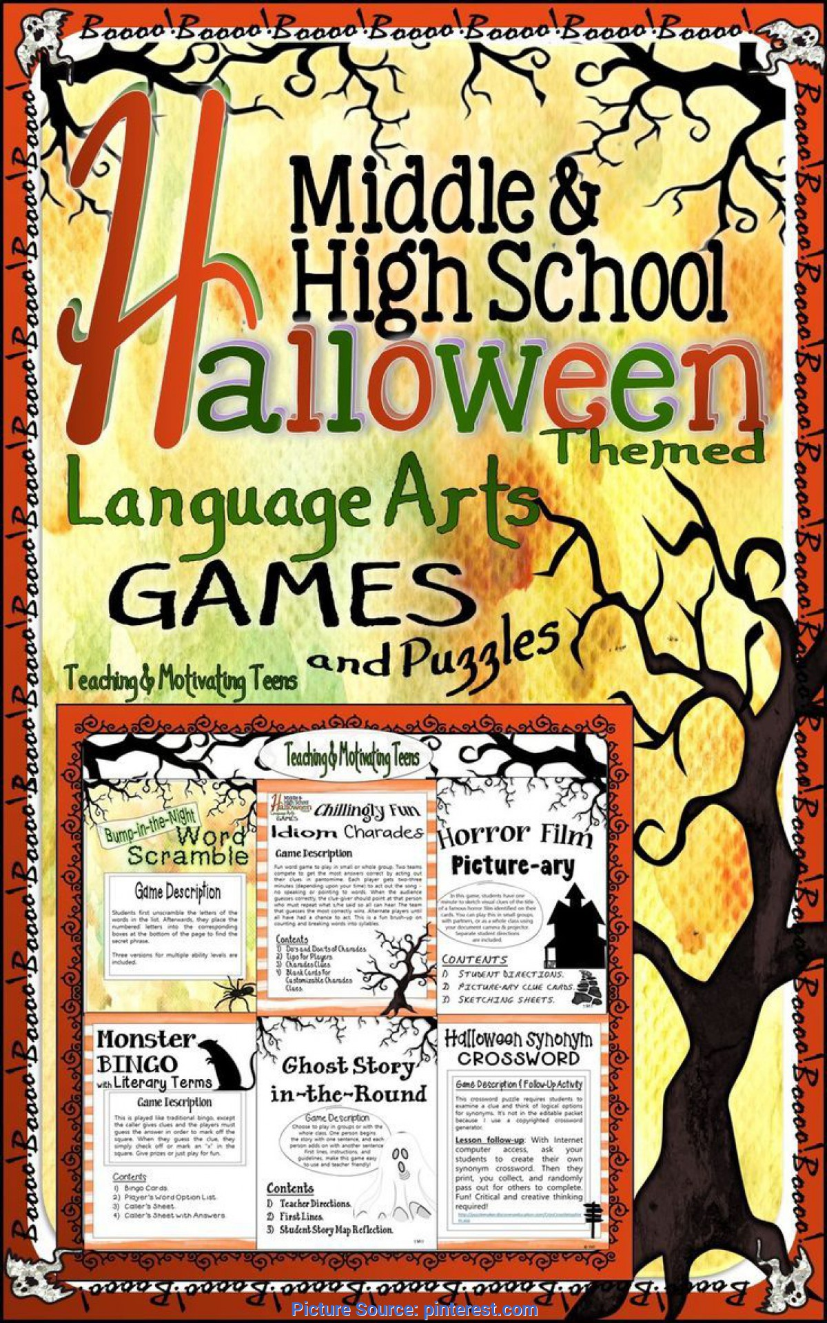 Regular High School Language Arts Halloween Games & Puzzles - Fun Middle & Secondary Ccss Englis