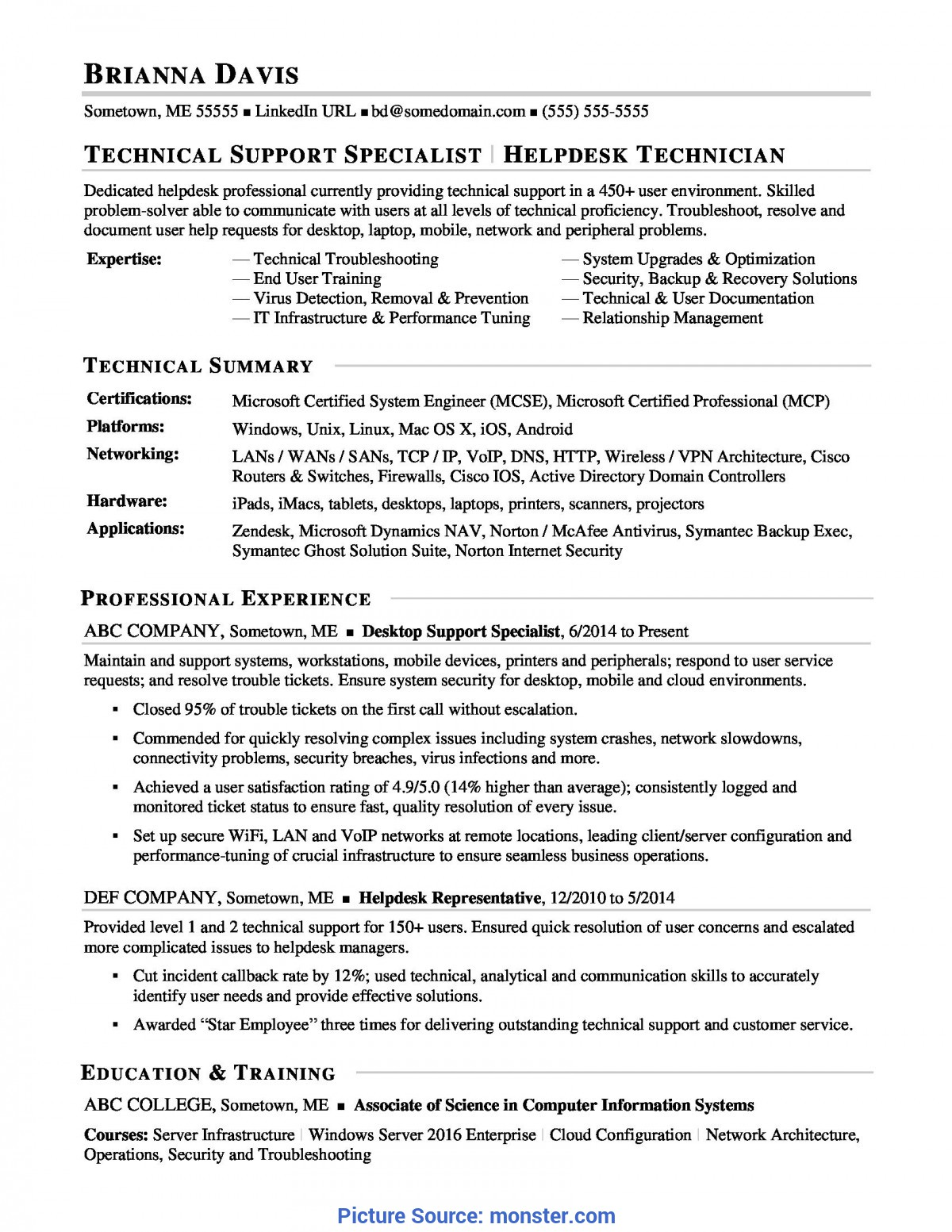 Regular Tpa 4 Sample Sample Resume For Experienced It Help Desk Employee | Monster