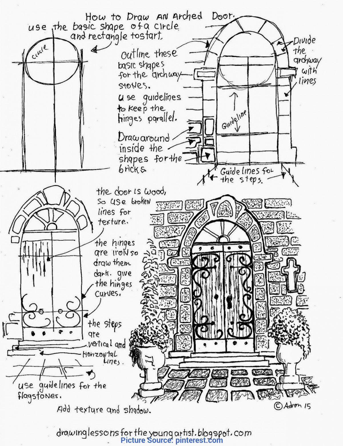 Simple Drawing Lessons For The Young Artist How To Draw An Arched Door, A Free Printable Worksheet (How T