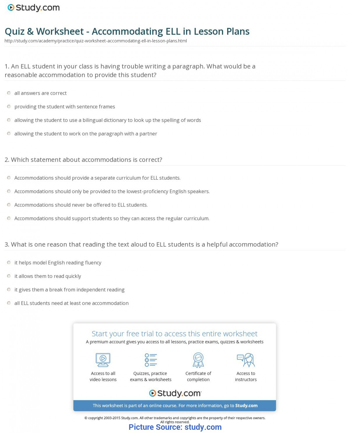 Simple How To Make A Lesson Plan For Teaching English Quiz & Worksheet - Accommodating Ell In Lesson Plans | Study