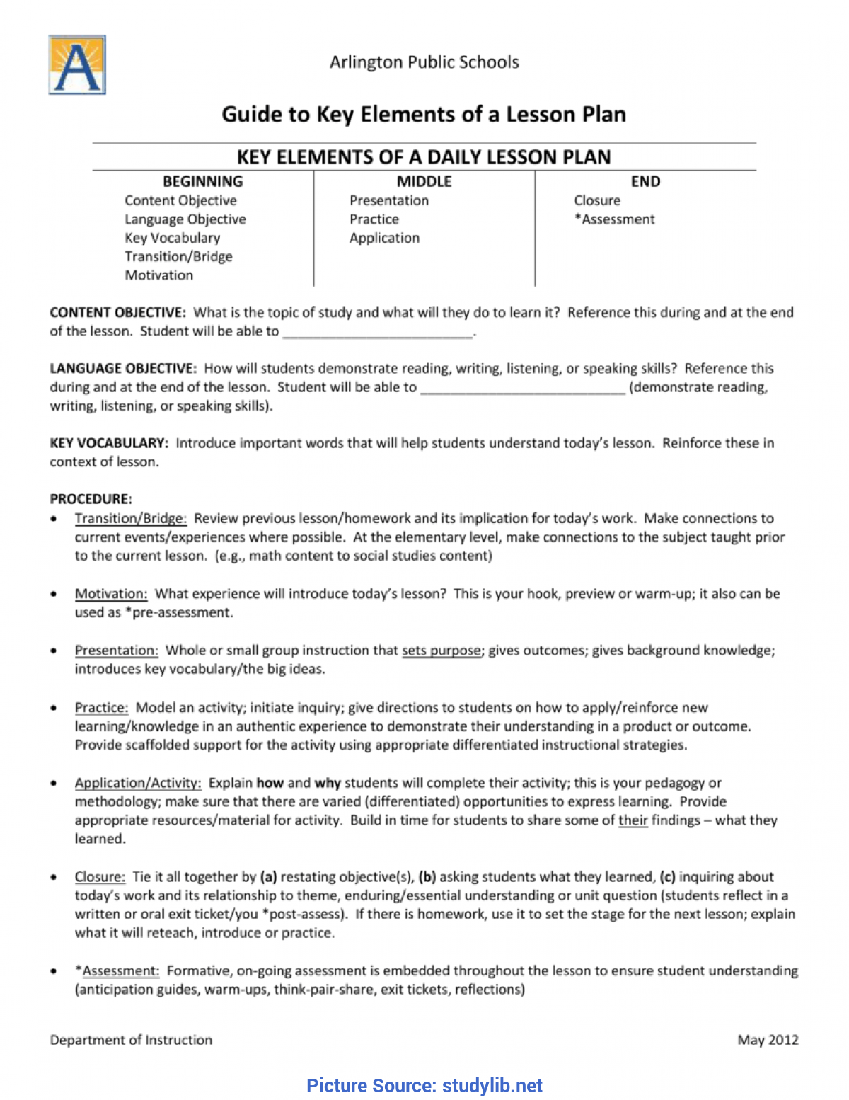 Simple Lesson Plan And Objectives Aps Key Elements Of A Lesson