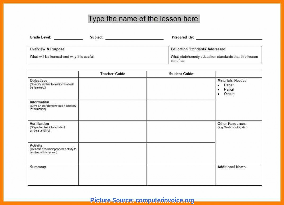 Simple Lesson Plan Celta Template 9+ Training Lesson Plan Template | Computer Inv