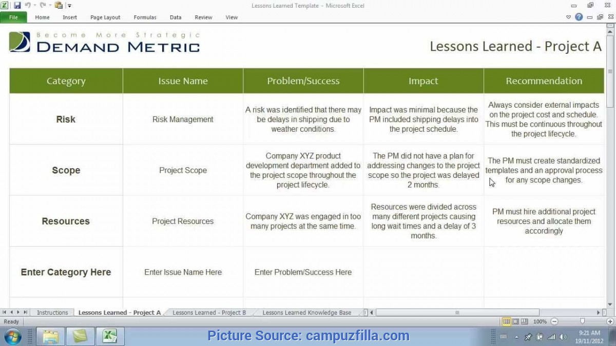 Simple Lessons Learned Review Template Lesson Learned Template | Templa