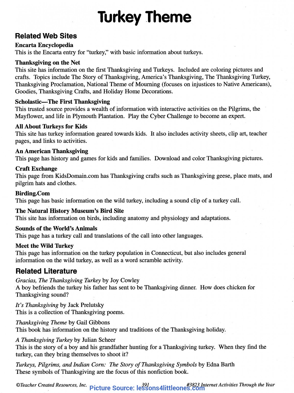 Simple Pilgrim Lesson Plans Turkey Internet Lesson Plan Page 1 - Lessons For Little Ones B