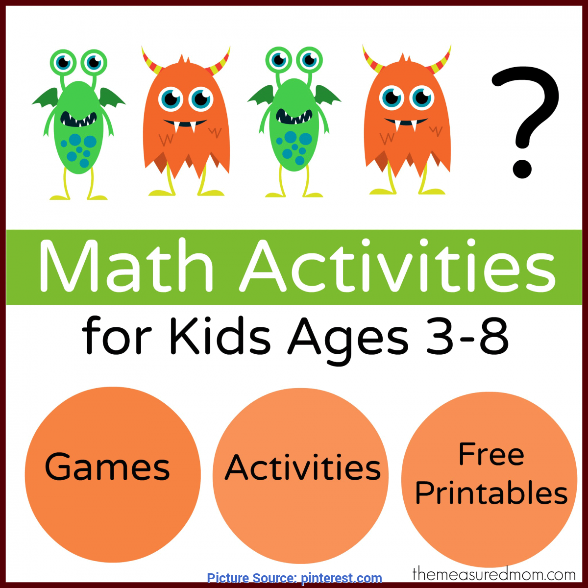 Simple Pre Primary Activities For Maths Monster Math Games & Activities - With Loads Of Free Printable
