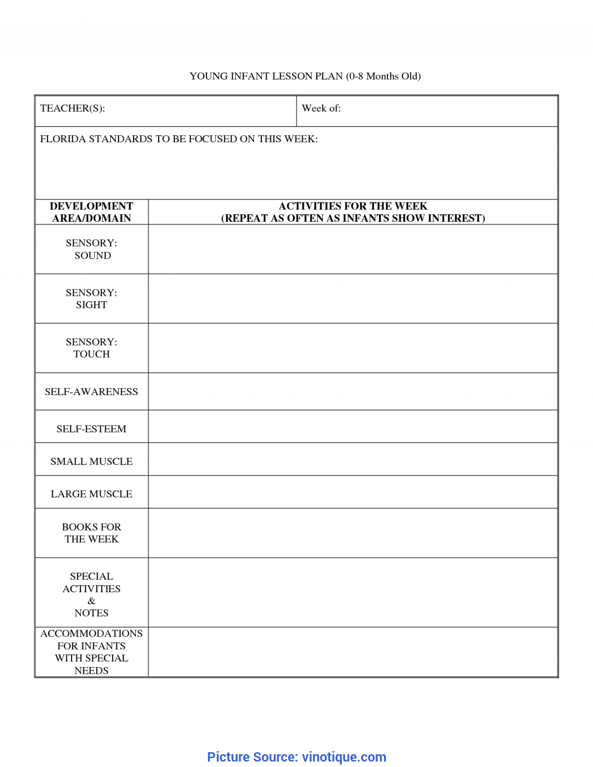 Blank Lesson Plan Template | Simple Weekly Lesson Plan Template For Infants And Toddlers Best
