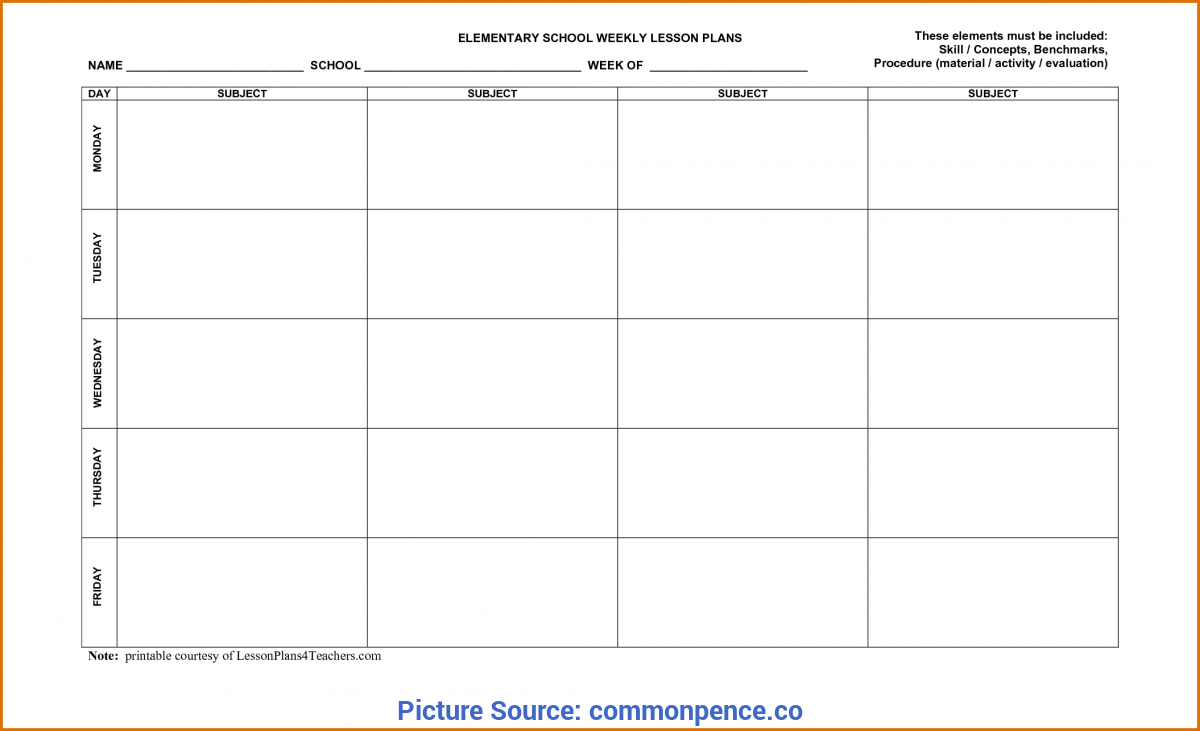 Simple Weekly Lesson Plan Template Word Lesson Plan Formats - Commonpenc