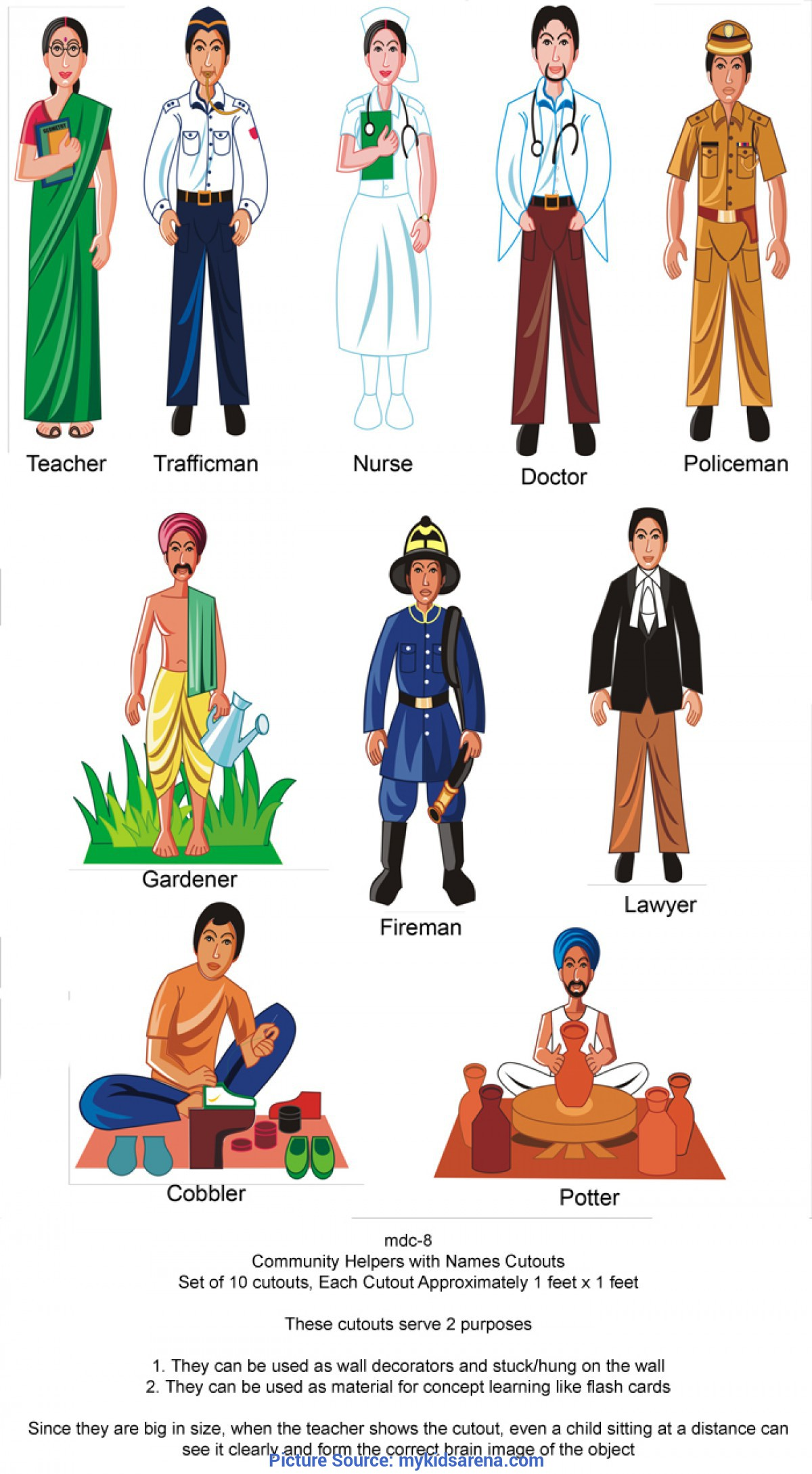 Special Community Helpers Cut Outs Play School Class Room Decoration And Wall Decoration And Wall Ch