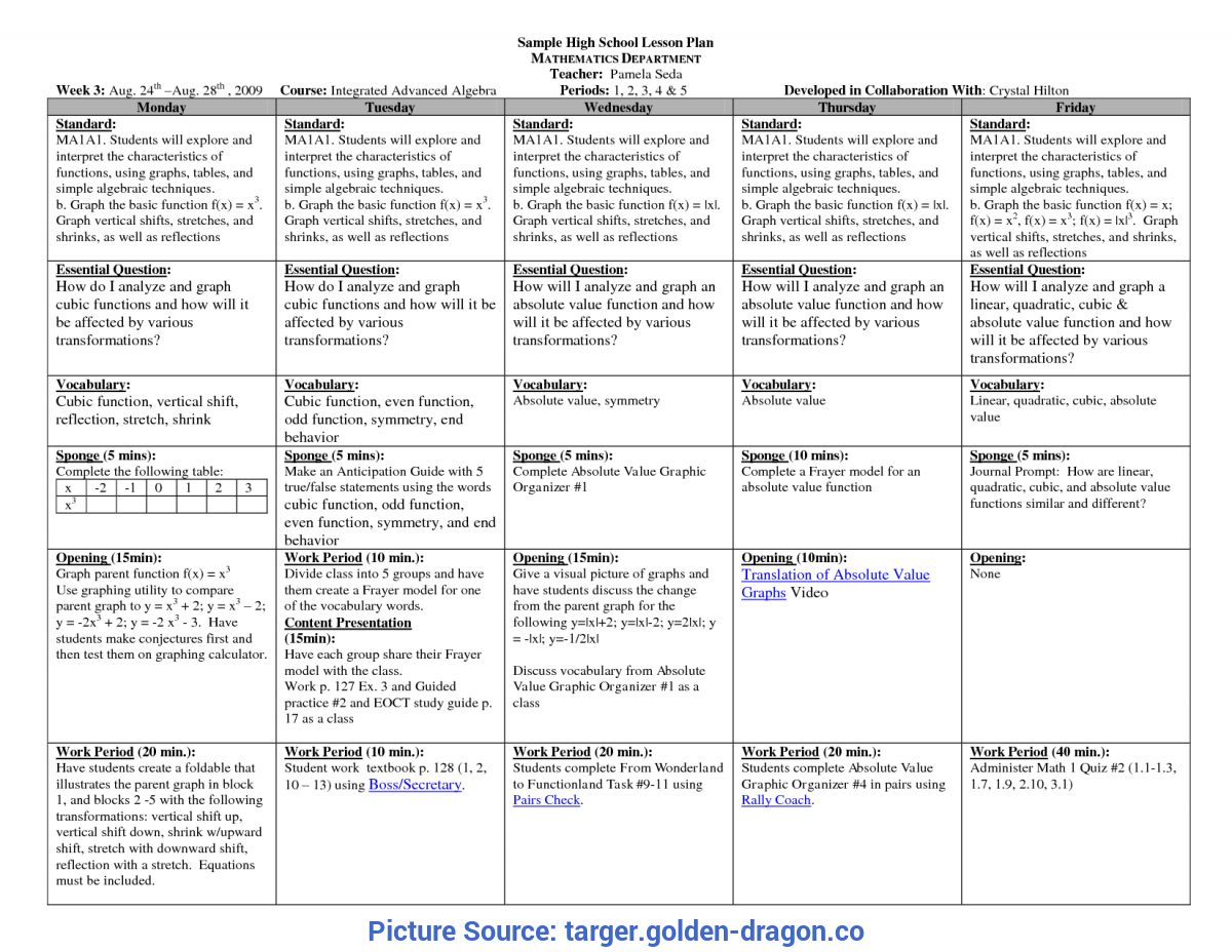 Special Example Of Detailed Lesson Plan In Mathematics For High School Lesson Plans Template - Targer.Golden-Drago