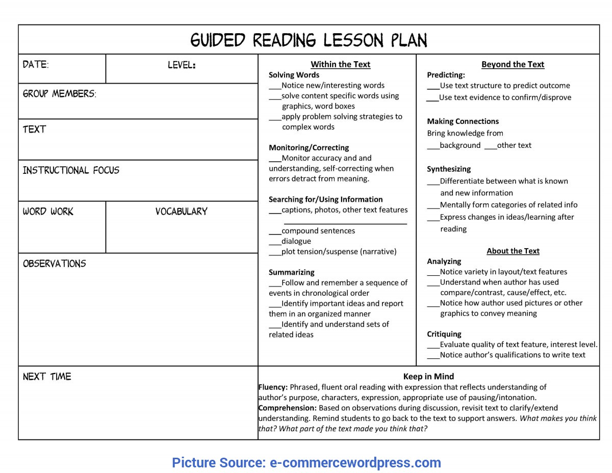 Special Free Lesson Plan Template For Reading Guided Reading Lesson Plan Template | E-Commercewordp
