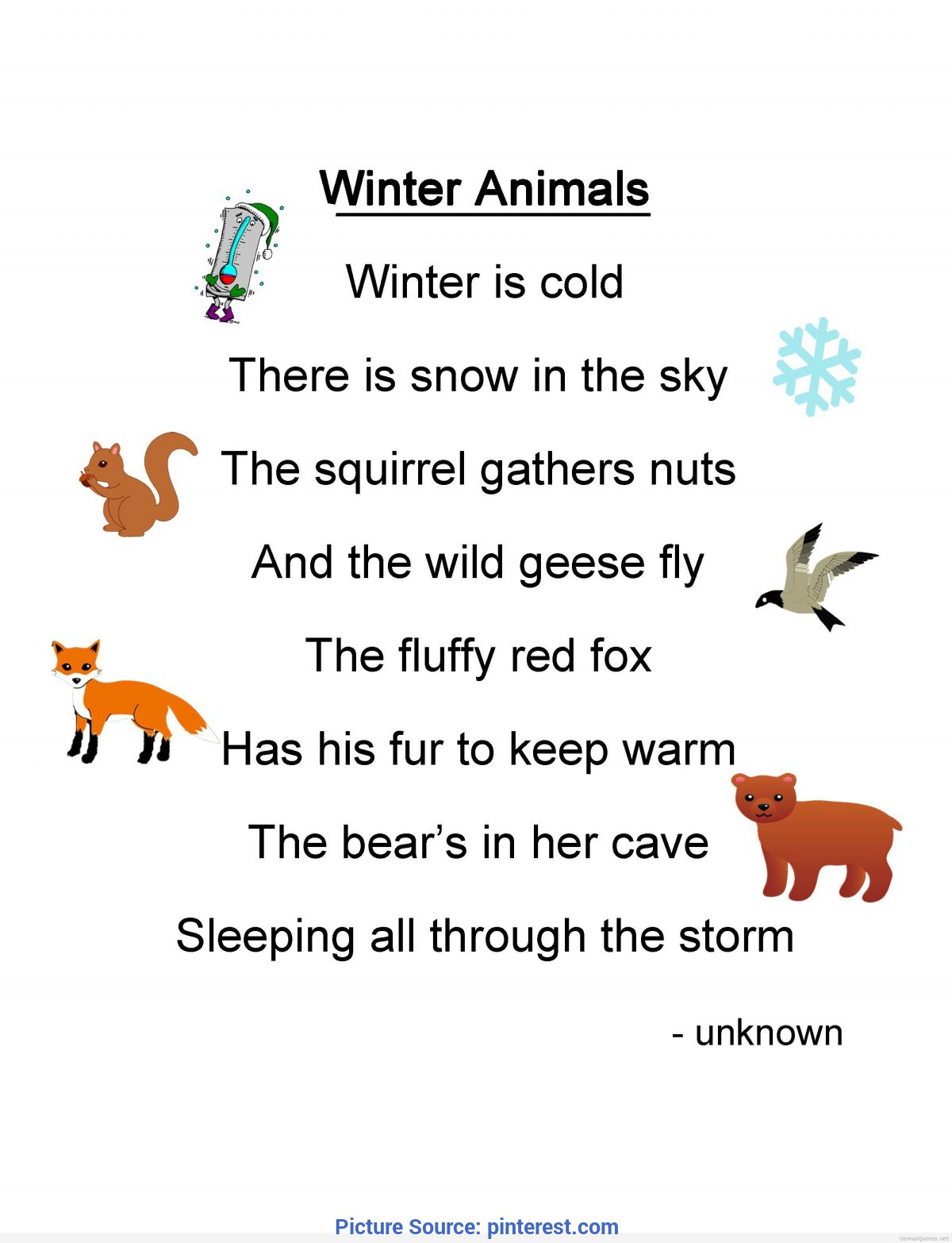 Special Lesson Plan For Preschool Winter Winter-Animals-Poem | Winter/christmas Lesson Plan Ideas(Nov/de