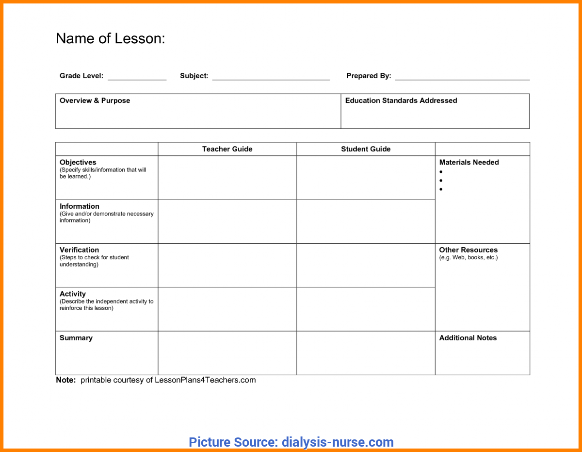 Special Lesson Plan Format 2017 7+ Blank Lesson Plan Format | Dialysis-N